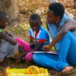 Helen Nyinakiiza (right), aside from being a digital security trainer, also works in an education project for orphans in Iganga district in Eastern Uganda